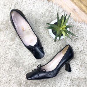 8660036c4 •CHANEL• Vintage Black Square-toe Bow Pumps Heels